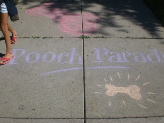 Chalk decorations on the sidewalk